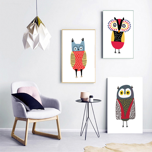 COLORFULBOY Owl Nordic Poster Wall Art Print Canvas Painting Animal Posters  And Prints Wall Pictures For