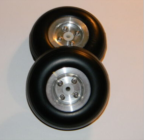 1 Pair of 3 inch / 76mm 5mm Hole RC Airplane PU Wheels with Dia-Casting Aluminum Hub