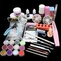 Free Shipping Nail Art Set Acrylic Liquid Glitter Powder File Brush Form Tips Tools DIY Kit