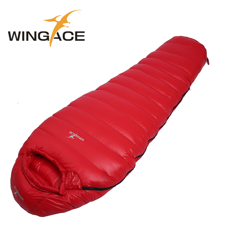 WINGACE Fill 400G 600G 800G 1000G 1200G Goose Down Sleeping Bag Winter Outdoor Ultralight Mummy Camping