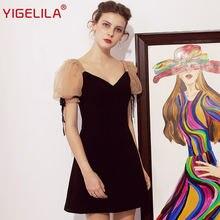 Женское мини платье yigelila черное облегающее футляр с треугольным