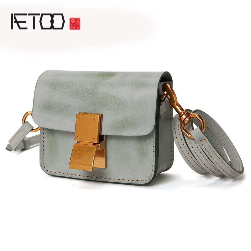 AETOO Europe and the United States style new leather handbag mist wax leather fashion shoulder Messenger bag small flap women aetoo leather new handbags europe and the united states fashion simple handbag head layer of cowhide diagonal shoulder bag handb