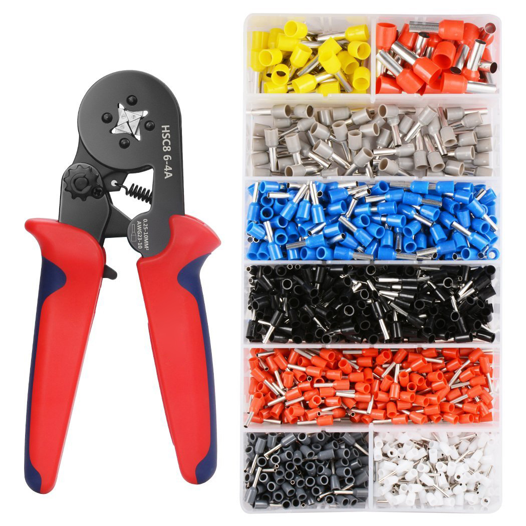 GTBL Crimper Plier Set 0.25-10mm2 Self-adjustable Ratchat Wire Crimping Tool with 1200 Wire Terminal Crimp Connector Insulated
