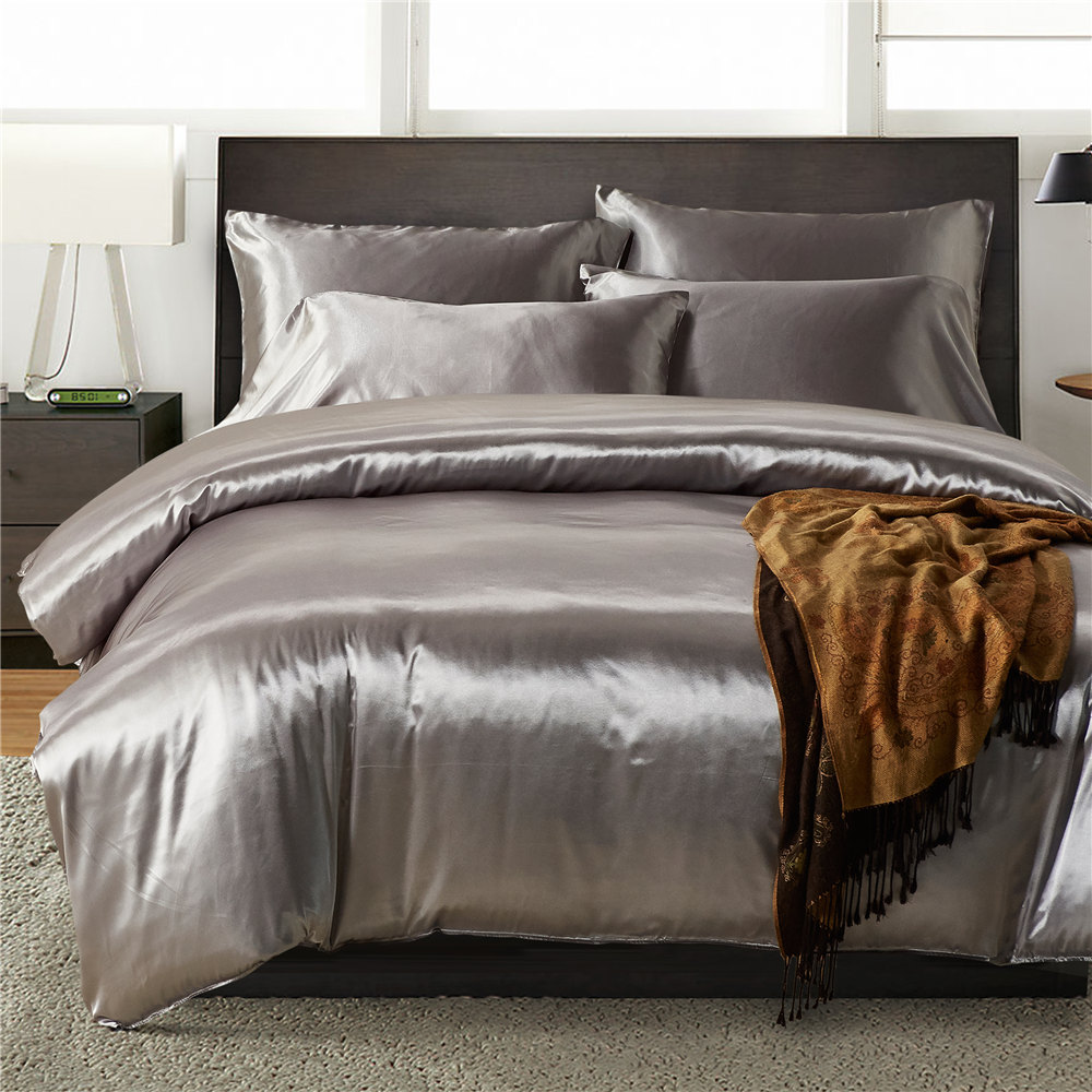 NIO Faux Silk Bedding set Satin Grey Duvet Cover For Individual Bed Quilts Set Silky Cover For Bed US Queen Cubrecamas King Size