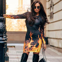 Flame Print Sexy Women Dress Long Sleeve Sheath Fire Winter Dress 2017 Christmas Dress Autumn Black