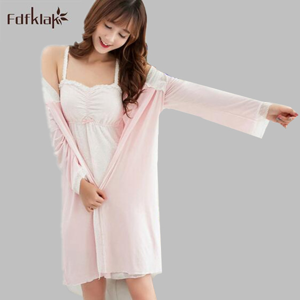 Fdfklak Sexy Nightgown Robe Bathrobe Women Lingerie Femme Sleepwear Robe And Gown Evening Gown Robe 4 Styles White/Pink E0811