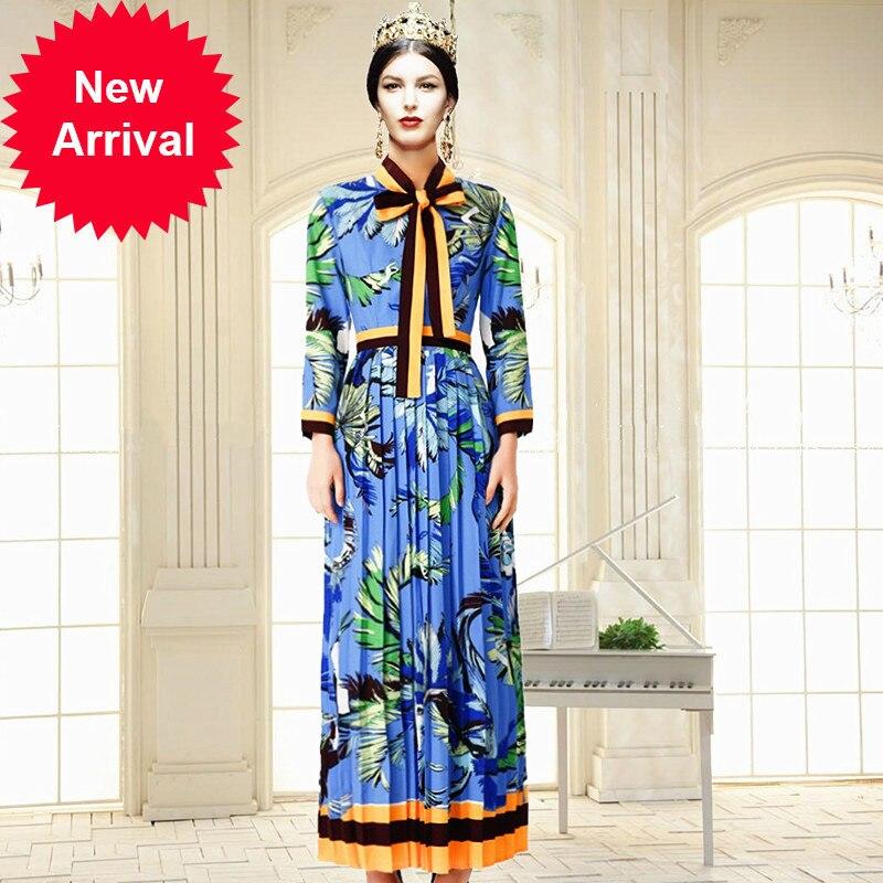 Designer Bouffancy Femme Blue Piste Cou Qualité Arc Automne 2018 Longue Haute Impression Robes Robe De 4SWSnqdwB
