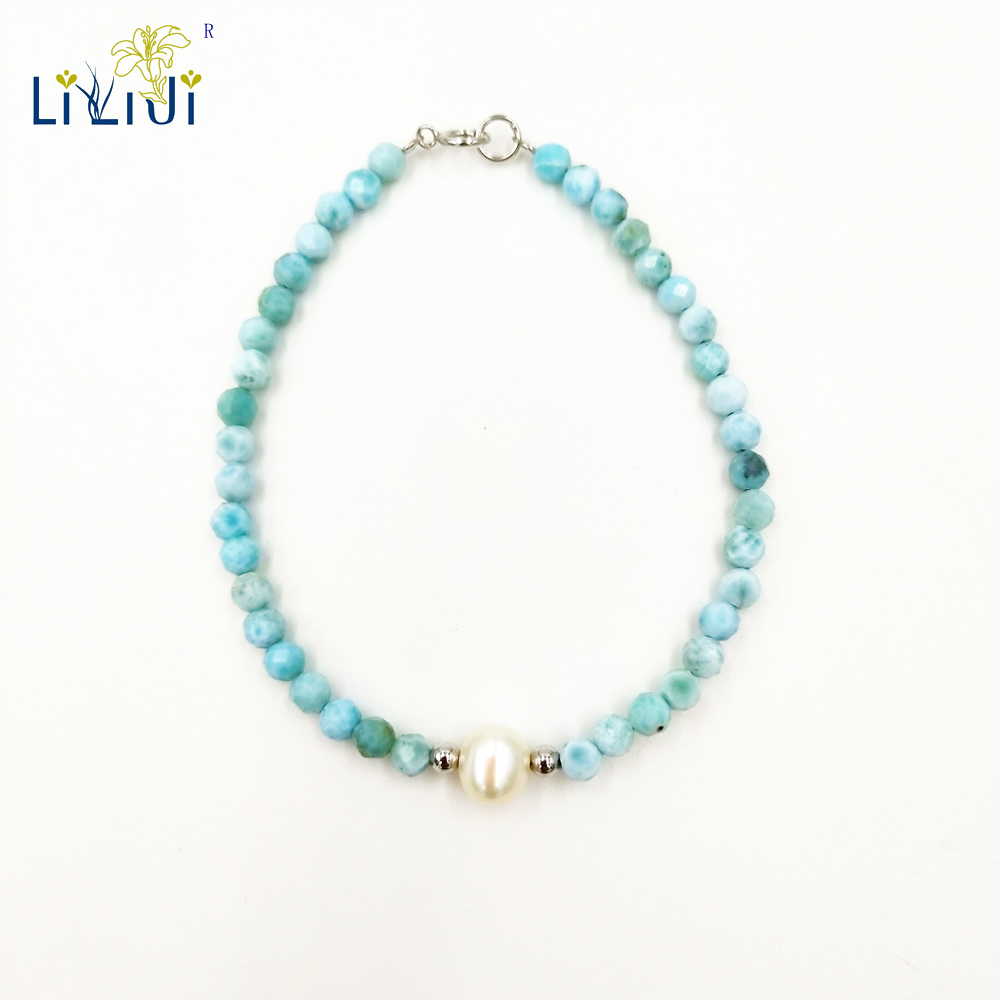 LiiJi Unique Natural Stone Blue Larimar 4mm Round Faceted Beads Freshwater Pearl 925 Sterling Silver Fashion Bracelet