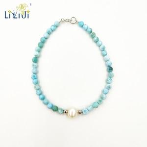 Image 1 - Liijiユニークな天然石ブルーラリマー3 4ミリメートルラウンドファセットビーズ淡水真珠925スターリングシルバーファッションブレスレット