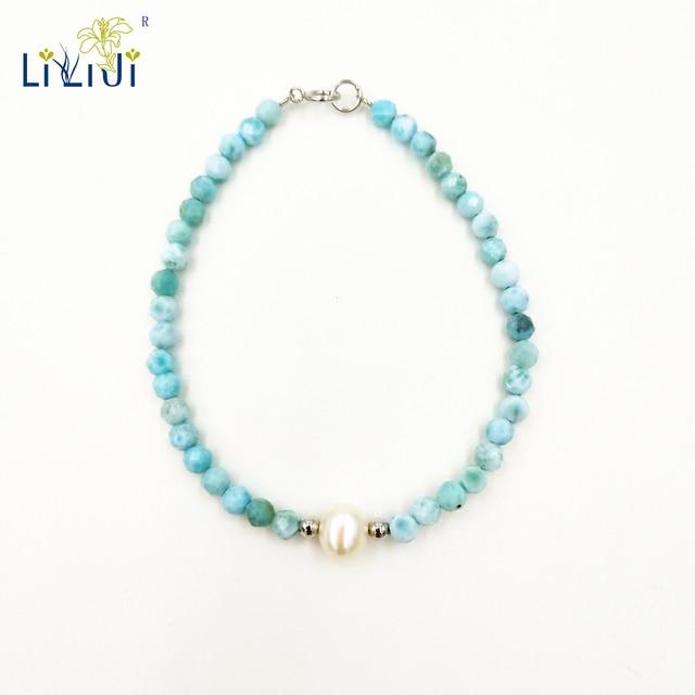 Liijiユニークな天然石ブルーラリマー3 4ミリメートルラウンドファセットビーズ淡水真珠925スターリングシルバーファッションブレスレット