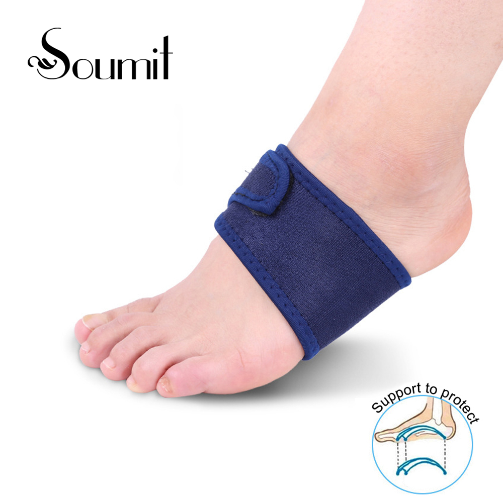 Soumit Silica Gel High Arch Orthotics Bandage For Heel Foot Pain Breathable Elastic Relief Plantar Fasciitis Orthopedic Insoles