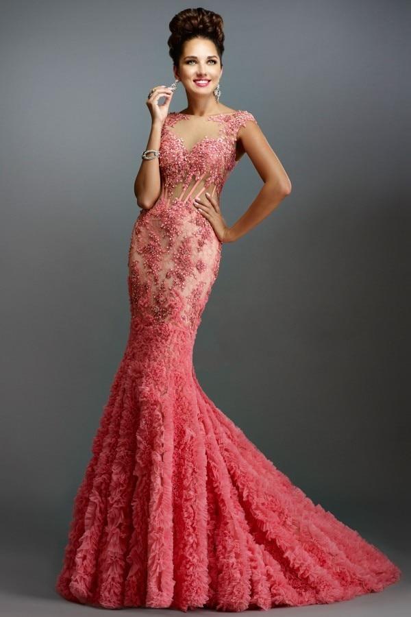 Coral Mermaid Evening Dresses