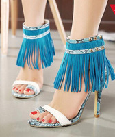 summer style sexy woman shoes woman fashionable snakeskin high heeled sandals blue pink ankle tassels design stylish party