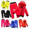 Crianças conjunto de Roupas Meninos Terno De Esqui do Inverno Da Menina Jaqueta Com Capuz Para Baixo casaco + Calça 3-8 Anos Roupa Dos Miúdos Para O Menino Da Menina Do Bebê Do Bebê
