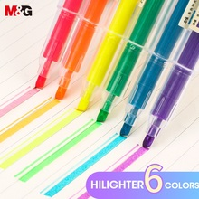 M&G 12 Pcs/set Muji Style Highlighter Pen Japanese Stationery Fluorescent Color Mark Pen Cute Kawaii for school supplies цены