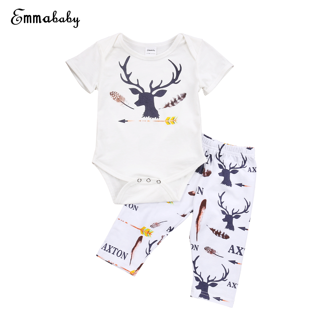 US Stock Newborn Baby Boy Girl Christmas Bodysuit Romper Pants 2Pcs Outfits Set