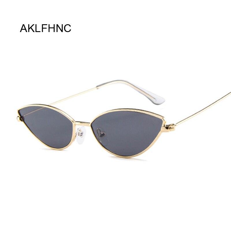 Classic Cat Eye Alloy Sunglasses Women Brand Designer Small Frame Sun Glasses Female Vintage Metal Oculos Feminino