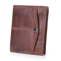Brand Genuine Leather Mens Wallet Small Vintage Simple Money Bag Coin Zipper Purse Slim Cow Leather