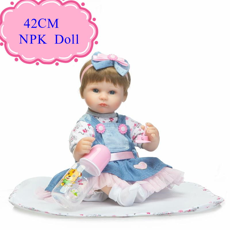 ФОТО New Online Silicone Reborn Baby Dolls With Blue /Brown Eyes 17inch Soft Body Realistic Kids Dolls 42cm Toys Children Playmate