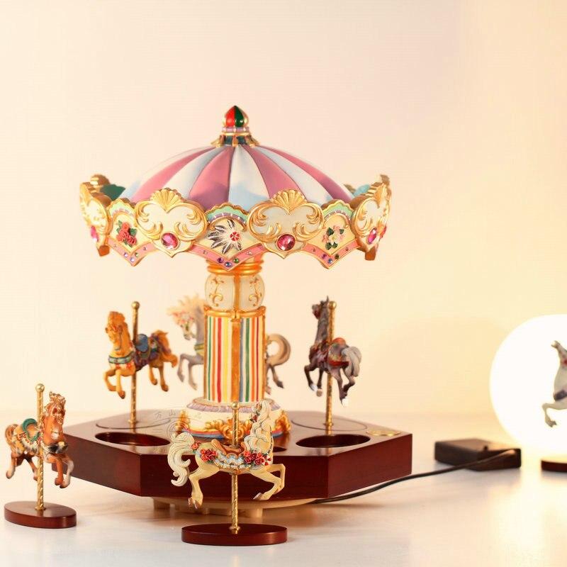 Valentine's Day Creativity Luxury Wooden Glowing Hand Carved Automatic Rotation Trojan Music Box Music Box Gift Girlfriend