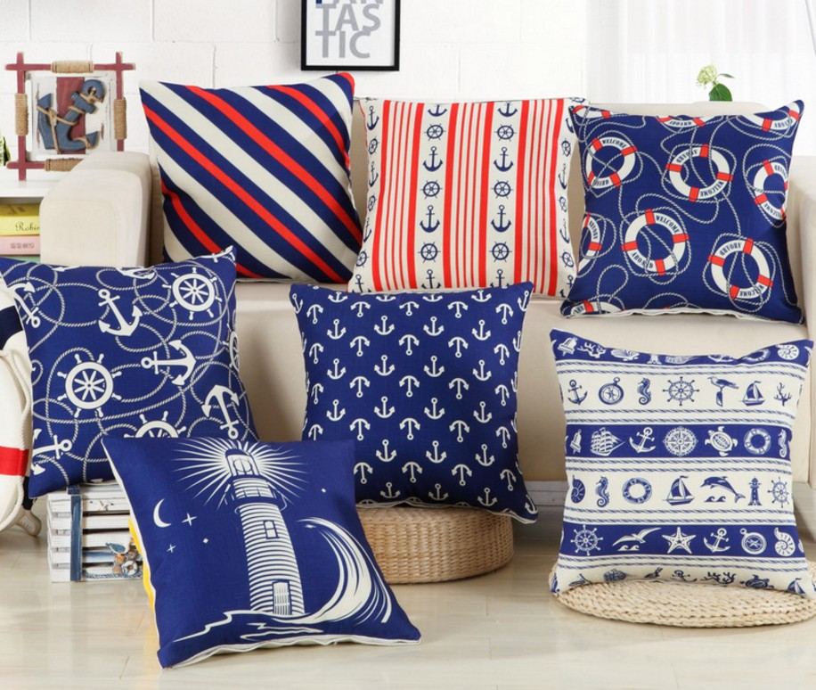 Blue Sailor Sea Anchor Cotton Linen Cushion Cover Pillow Cover 45x45cm Decorative Pillow Case Sofa Seat Boat Pillowcase B290