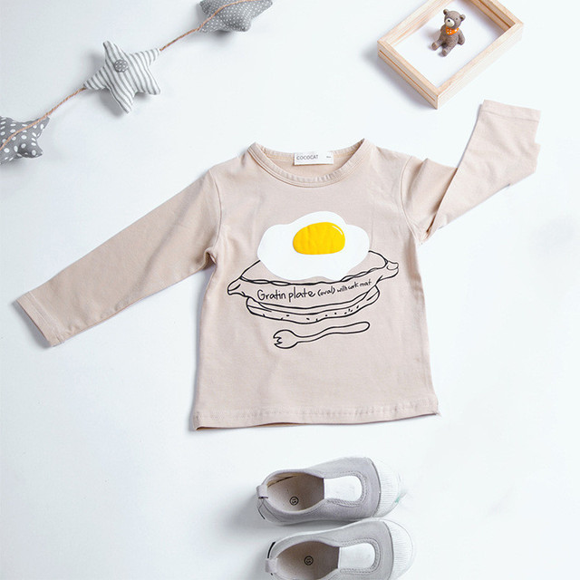 New arrival 2016 girls cotton t shirt fashion Egg Printed children t shirts baby girls kids clothes long sleeve shirts Age2-6y