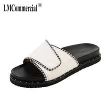Leather slippers womens summer fashion flat sandals big size Summer women Sandals Sexy Slippers Women Flip-flops Shoes