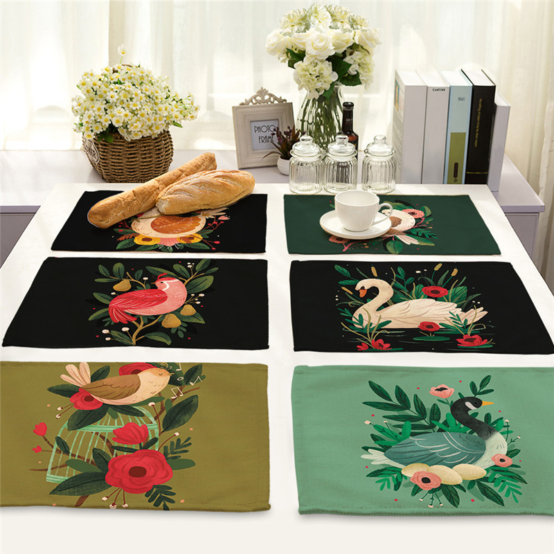 Animal And Cactus Printed Placemat Dining Tables Coaster Cloth Insulation Coffee Tea Cup Pad Kitchen Placemat For Table 40x32cm