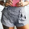 Summer Spring women high waisted Corduroy shorts Bandage nightclub tight velvet shorts Female hot shorts for womens