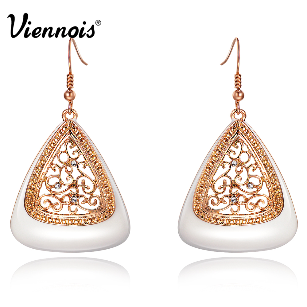 Viennois New Fashion Rose Gold Color Long Dangle Earrings for Women Rhinestone Hollow Flower Enamel Drop Earrings Jewelry pair of sweet rhinestone hollow flower design earrings for women