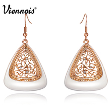New Fashion Rose Gold Color Long Dangle Earrings for Women