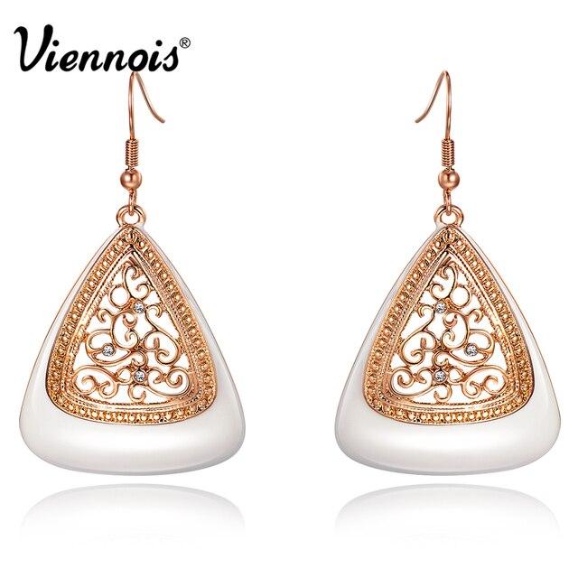 Viennois New Fashion Rose Gold Color Long Dangle Earrings for Women Rhinestone Hollow Flower Enamel Drop Earrings Jewelry