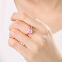 925 Sterling Gold Sliver Rose Quartz Stone Love Women's Ring Heart Shape Opening Pink Crystal Jade anillos de Gemstone Jewelry mele natural rose quartz rings wtih 18k gold heart shape pink gemstone fine jewelry