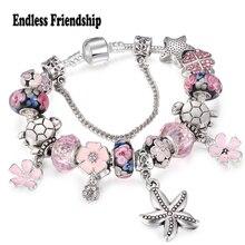 Starfish Avec Peach Blossom Balancent Charme Bracelets Pour Femmes Rose Fleur Perles de Verre Fit Marque Bracelet et Bracelets DIY Making