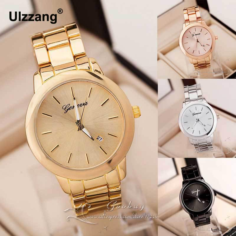 цены  Hot Sale Fashion Dress Gold Rose Gold Geneva Quartz Wristwatch Wrist Watch for Women Men Full Stainless Steel /w Calendar