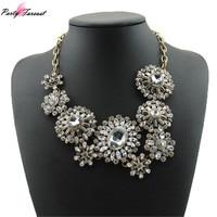 PF Fashion Black White Necklace Women Choker Jewelry Trendy Pendants Rope Chain Statement Necklace Flower Pendant