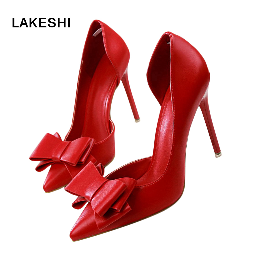LAKESHI Women Pumps Fashion Wedding High Heels Shoes Sweet Shoes Women Stilettos Bowtie Pointed Toe