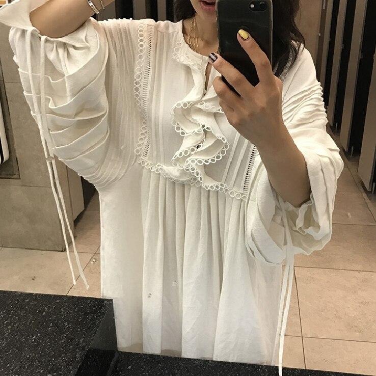 Longue 2019 Volants Bouffantes Femmes Bord De Lâche Solide En Mousseline White Robes Printemps Blanc Robe Feuille Getsring Soie D'été Lotus Manches gHatAxqwg