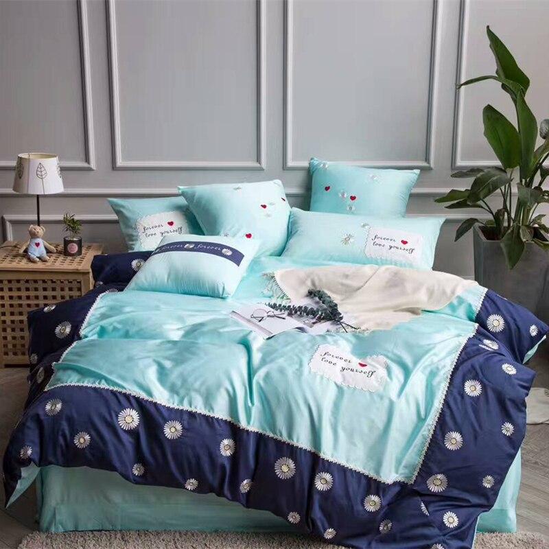 4/6/7Pcs Egypt Cotton Blue charm luxury Bedding Set Applique Embroidery Duvet cover set Bed Sheet Pillowcases Queen King Size