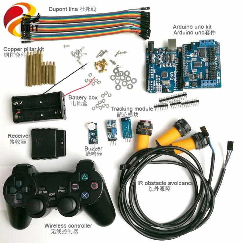Lidar Com o Controle sem fio Kit com UNO Board + Placa de Excitador Do Motor + Joystick + IR Módulo Obstacle avoidance + Rastreamento + buzzer para Arduino Carro
