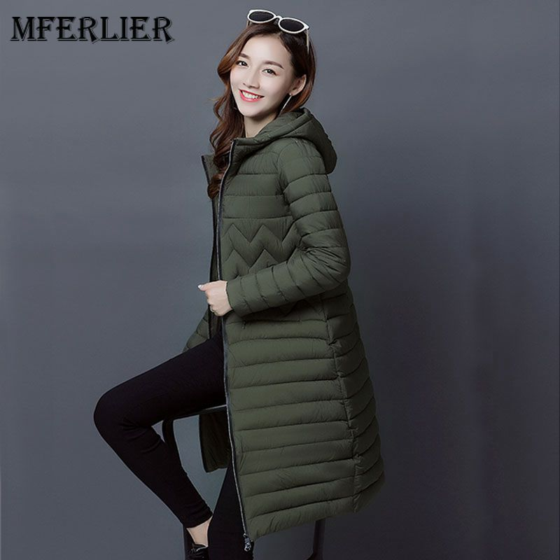 Mferlier Mori Girl Winter Parka Femme Hooded Manteau Femme Solid Black Army Green Long Slim Women Winter Coat
