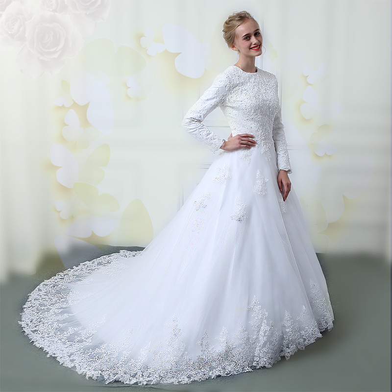 Wuzhiyi Muslim Wedding Dresses 2018 Custom Made Lace Up Wedding