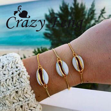 Crazy Feng Natural Cowrie Bead Shell Bracelet Jamaican Style Adjustable Chain Beach Surfer Jewelry Gold Bracelets for Women Girl