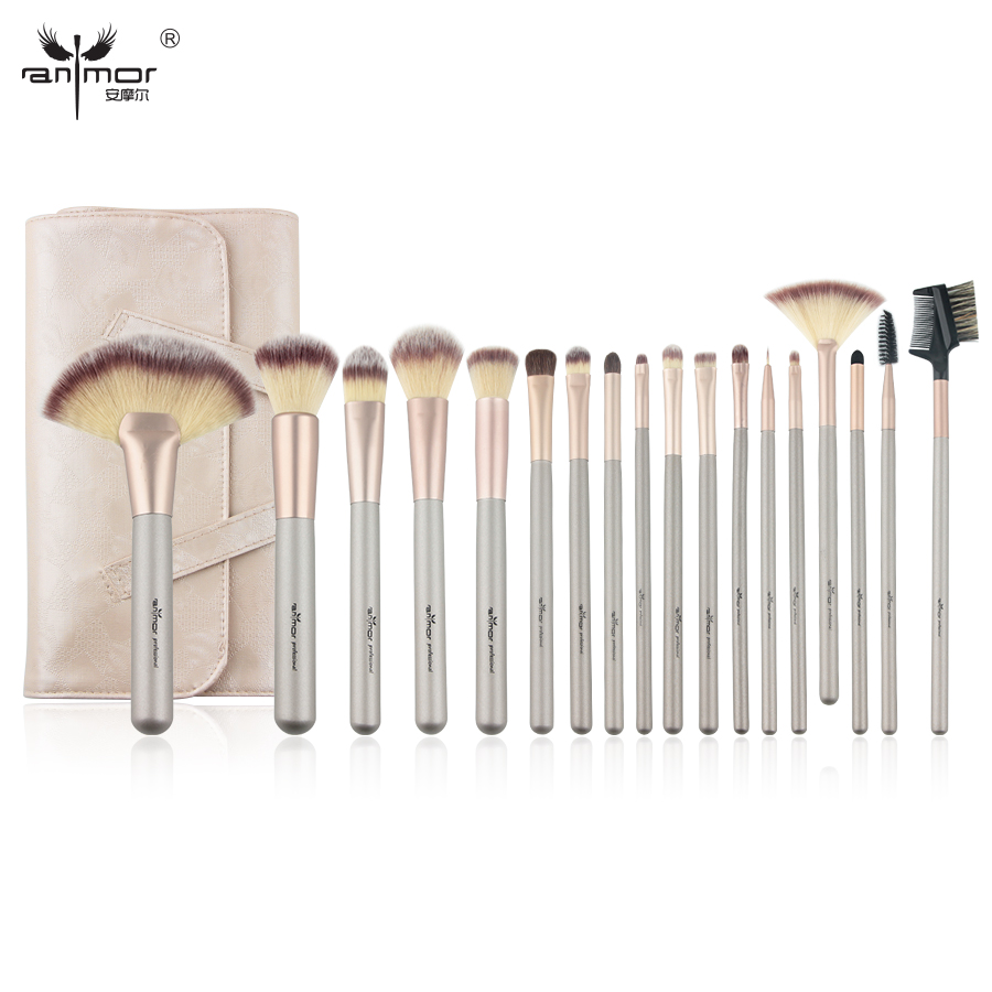 Anmor Natural 18PCS Makeup Brush Set Professional Make Up Brushes High Quality Synthetic Brushes For Makeup with Bag anmor make up brushes professional powder duo fibre eyeshadow makeup tool synthetic makeup brushes set with black bag
