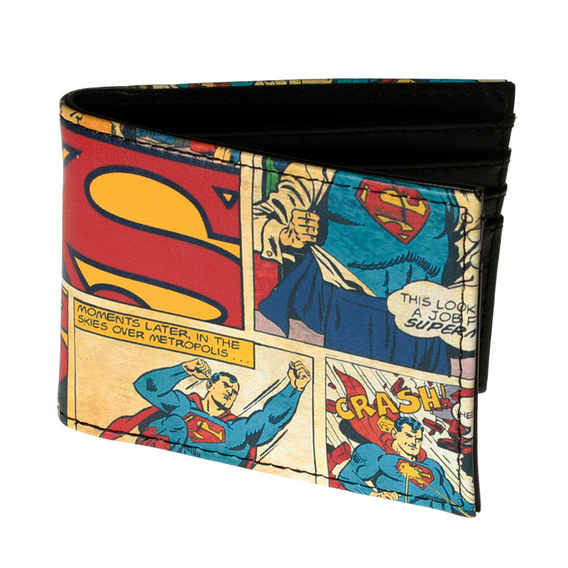 DC Comics SUPERMAN Comic Book Panels Bi-Fold WALLET DFT-1506 dc comics forever evil bizarro bifold wallet dft 1540