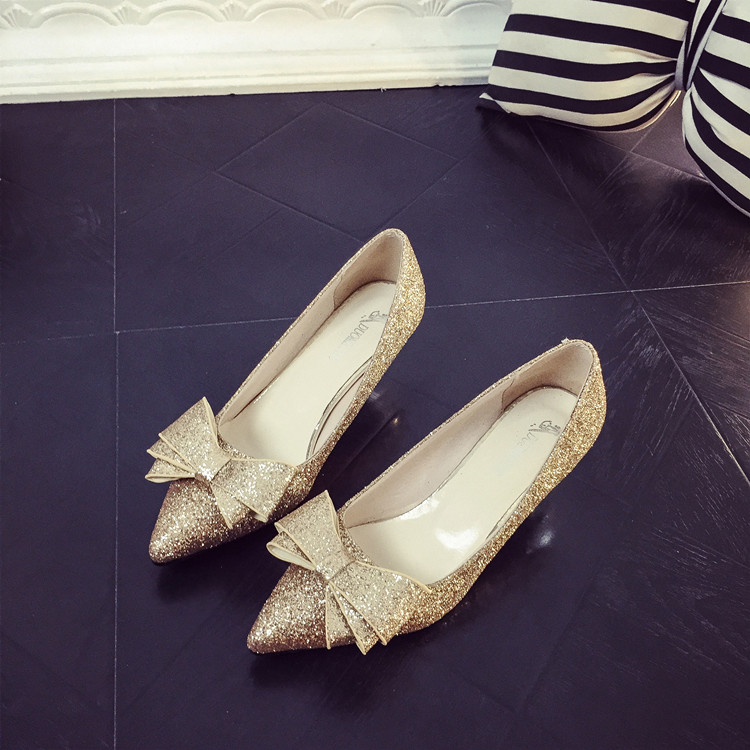 2016 Women Gold Sequined High Heels Pointed Sexy Shoes Silver Bow Temperament Female Bowknot Shoes High Heel Pumps цены онлайн