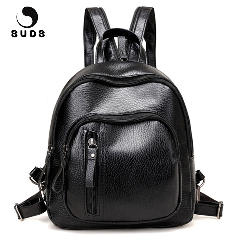 SUDS Brand Backpack Women Preppy Style PU Leather School Bags For Teenagers Female Casual Black Travel Backpacks Mochilas Mujer dida bear brand women pu leather backpacks female school bags for girls teenagers small backpack rucksack mochilas sac a dos