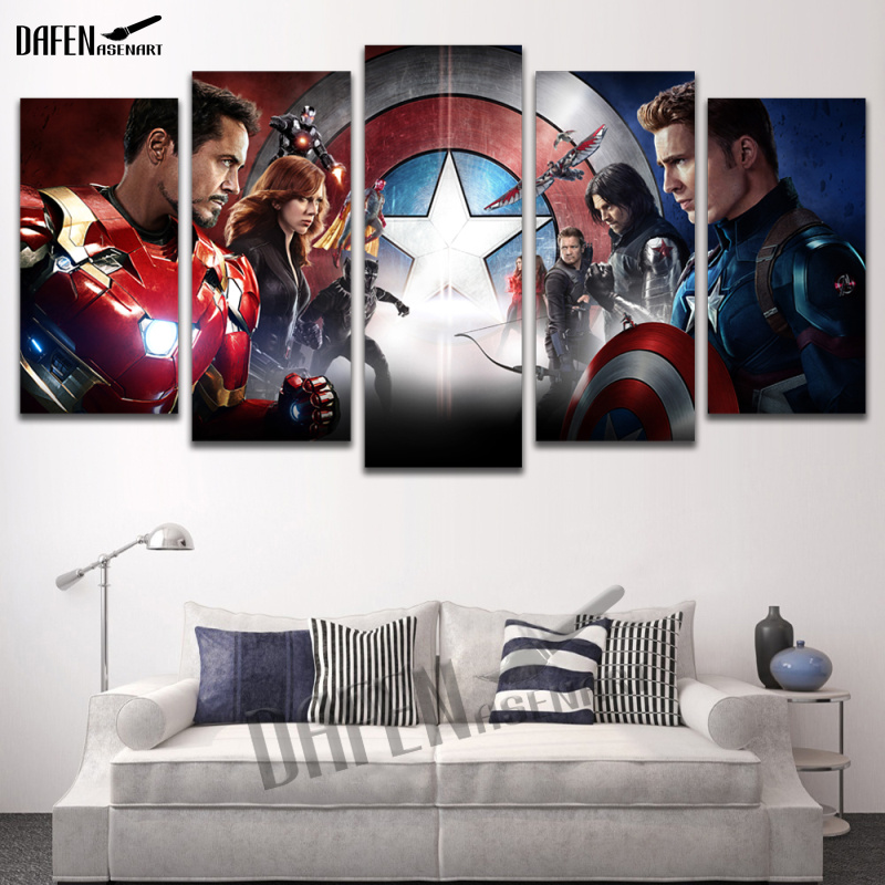 5 Panel Wall Art Painting Movie Poster Canvas Painting Super Hero Paintings Print Unframed wall pictures for living room5 Panel Wall Art Painting Movie Poster Canvas Painting Super Hero Paintings Print Unframed wall pictures for living room