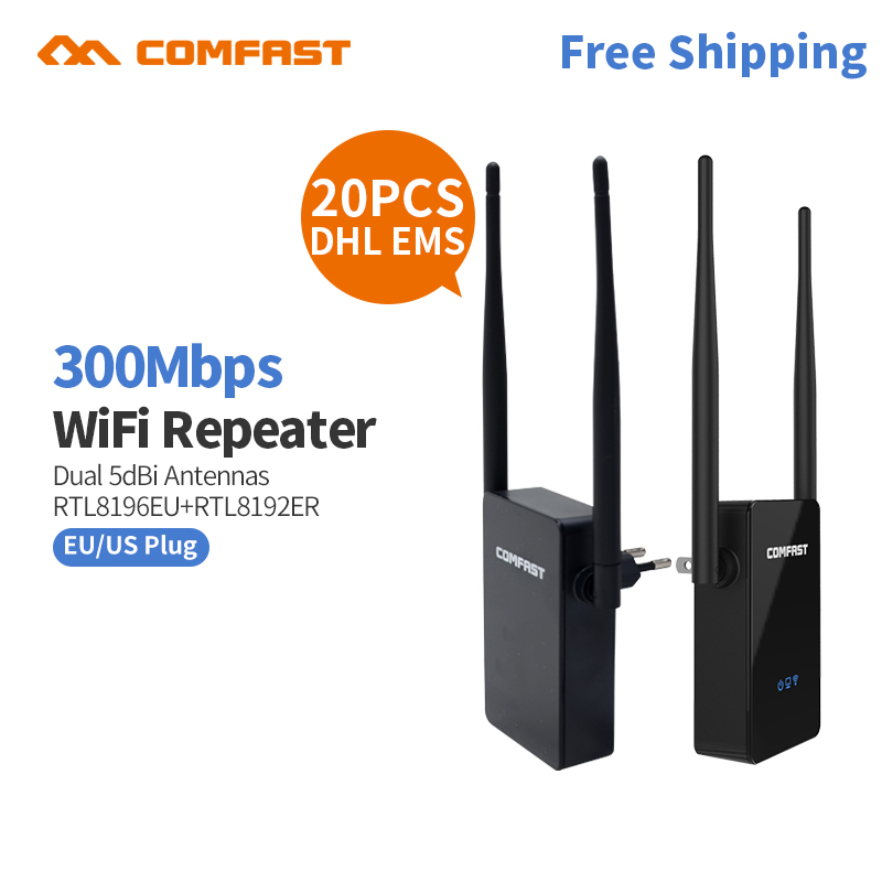 20pcs DHL COMFAST Wireless Wifi Repeater 300Mbps Network Wifi Extender Signal Amplifier Signal Booster Repetidor CF