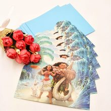 6pcs/set Moana Birthday Party Supplies For Girls And Baby Shower Favor Party Decoration Invitation Card for Boy(China)